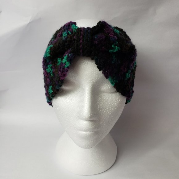 Purple Multi-Colour Bow Head Band Ear Warmer